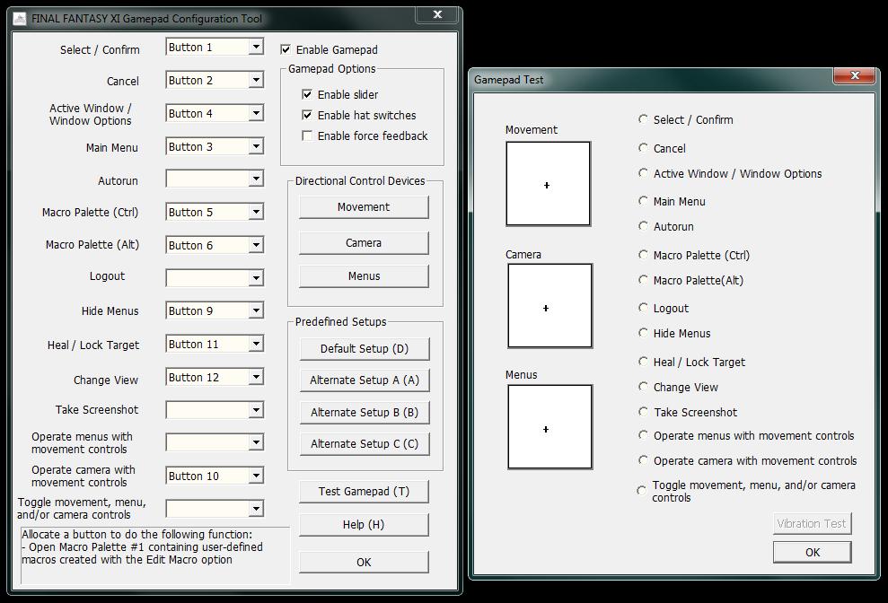 FFXI 360 Pad Button Config - Final Fantasy XI - FunTimeBliss ::